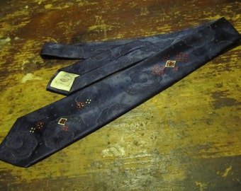 """California Satins Blue Tie (52.5""""/3"""") with Floral Back Design and Red/White/Black Accent"""
