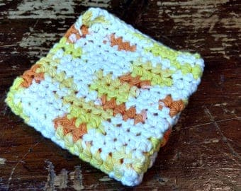 "Single White/Orange/Yellow Crochet Wash/Dish Cloth, 8""x8"", Handmade, Machine Wash/Dry"