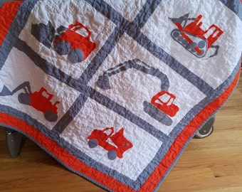 Construction Crib Construction Bedding,Construction Nursery Orange Gray, Boy Bedding, Dozer, Backhoe, Cement Truck, Crane, Dump Truck