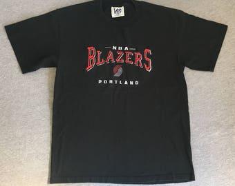 Portland TRAIL BLAZERS Shirt 90's Vintage/ Rip City LEE Embroidered Stitched Sewn NbA Basketball Tshirt/ Medium Excellent