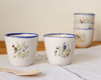Coffe cups Wheel thrown Stoneware White and blue cups Flower bouquet - Ready to ship