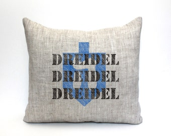 "dreidel pillow, hanukkah decor, chanukah decor, jewish holiday - ""dreidel dreidel dreidel"""