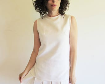 Super Cute Vintage White 60s 70s Drop Waist Pleated Tennis Mod Dress