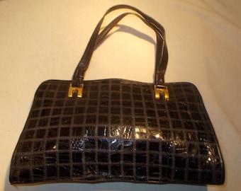 Super navy blue vintage snakes skin handbag great size