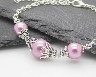 Ballet Pink Bridesmaid Pearl Bracelet, Rose Wedding Jewellery, Pearl Bridal Sets, Matching Pearl Set, Bridesmaid Gift Ideas, Pink and Silver