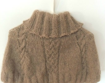 Warm and soft capelet, cape, wrap. Beige, light brown wool and doghair yarn. Cable pattern.