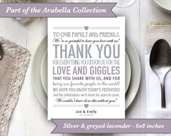 PRINTABLE Personalised File - Wedding Thank You Place Setting Sign - 6x8 Digital Files Download Silver Greyed-lavender lilac Thankyou Decor