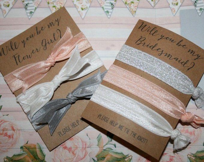 Will You be My Bridesmaid Flower Girl? Set of 3 Hair Ties - White, Silver, Grey, Pink-Peach Blush Wedding Favours  Bridesmaid Gift Proposal