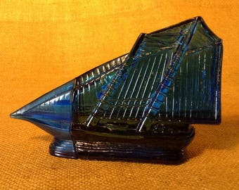 Vintage AVON Oland After Shave Sailing Ship Clipper - Blue Glass Decanter