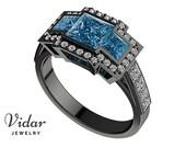 Unique Engagement Ring,Black Gold Blue Diamond Bridal Ring - Custom Ring Order For Jamie