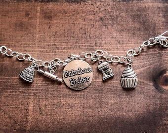 Fabulous Baker Bracelet Great gift for your wedding cake decorator cupcake, rolling pin, kitchenaid mixer