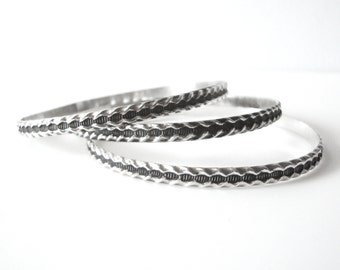 Set Of Three Matching Sterling Silver Bangle Bracelets