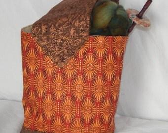 Fiber and yarn project bag, knitting, crochet, embroidery, sun, solar system, Aztec