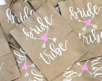 Custom Gift Bag - Hand Lettered Gift Bag | Kraft Bag | Personalized Bag | Bridal Party | Wedding Favor | Bachelorette Party | Calligraphy