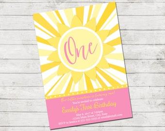 Sunshine Birthday Party Invitation - Our Little Sunshine - First Birthday - Sun - Yellow Pink - Printable