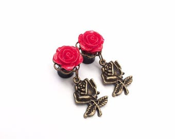 8mm (0G) Red Rose Ear Plugs