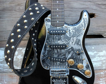 Heavy Metal Guitar Strap Made From Leather and Vintage Denim, Studs, Rock N' Roll, Metal, Vintage, Unique, Custom, Studded, Punk, Hardcore