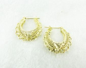 Solid 14K Earrings Vintage Hoops Filigree Earrings Yellow Gold Hoops Estate Earrings Filigree Hoop Earrings Medium Hoops