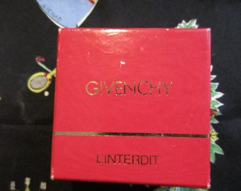 Vintage 1980's Givenchy L'interdit Solid Perfume Gold Heart Compact New In Box