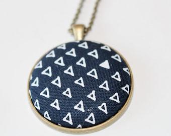 Navy Blue Triangle Design Pendant Necklace