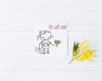 Get Well Card Robot Flowers Greeting