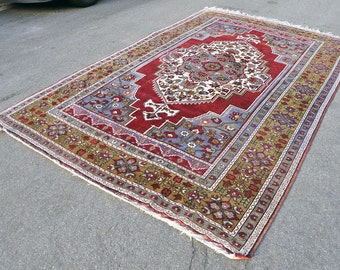 Large Grape and Olive Turkish Medallion Rug --  11 ft. by 7 ft.
