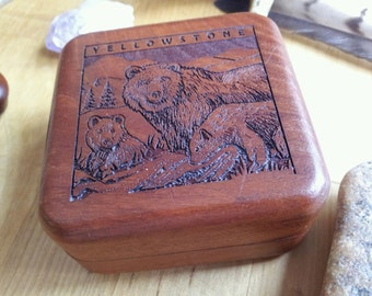 Vintage Wood Spirit Bear Stash Box Treasure Chest Mens Jewelry Gift Hunting Fishing Outdoor Decor Yellowstone Keepsake Gift Wayne Carver