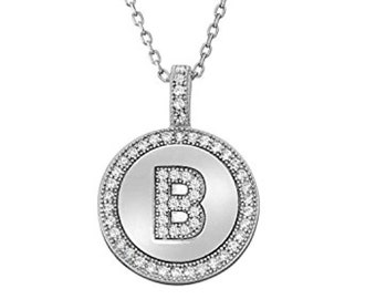 Letter B Micro Pave CZ Pendant .925 Sterling Silver