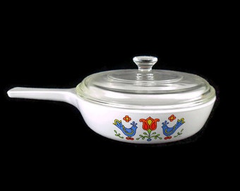 Corning Ware Country Festival * Menuette Pan Skillet with Lid * Pyrex Friendship * Bluebirds