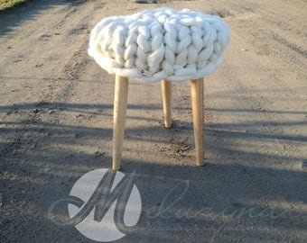 Wood and wool stool, wooden stool, wool pillow, merino wool, natural wood, little table, scandinavian stool, hygge style,