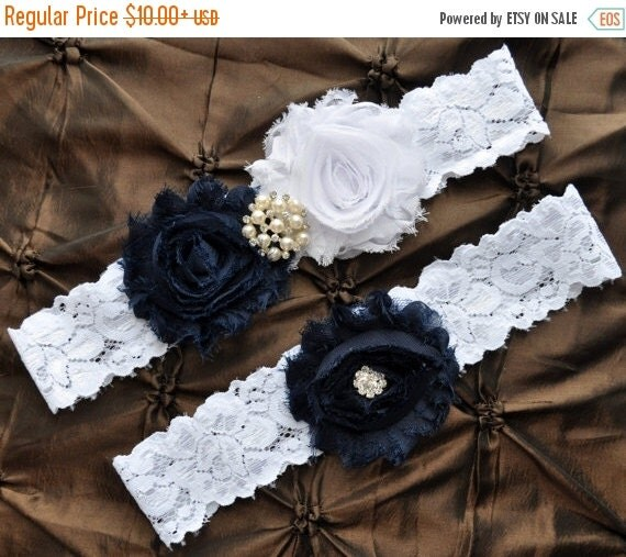 SALE Something Blue Wedding Garter Set Navy By