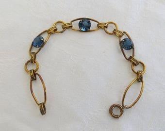 Vintage Rhinestone Bracelet, Open Link with Cobalt Chaton Rhinestones