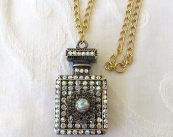 "Perfume Bottle Necklace, Aurora Borealis Rhinestone and Filigree Metal, Vintage Perfume Necklace  24"" chain"