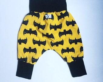 Batman Harem Pants - Grow with Me sizing - cotton yellow batman