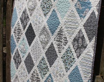 Arctic Fox Quilt Blue and Gray // Gift for Toddler // Gift for Baby // Baby Boy // Baby Girl // Baby Quilt // Toddler Quilt