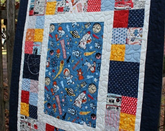 Limited Edition Rocket Boy Toddler Quilt with Stuffed Rocketship Toy #4 of 7 // Baby Shower Gift // Toddler Gift