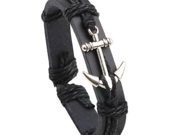 Handmade Genuine Leather Silver Anchor Adjustable Bracelet.