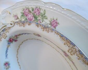 Vintage Mismatched China Serving Dishes, Oval Serving Platter, Oval Vegetable Bowl - Set of 2