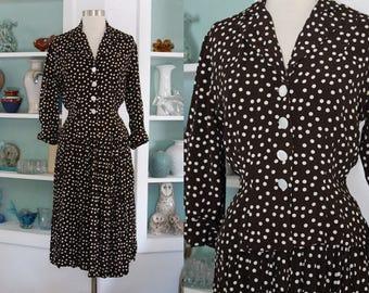 1940s Polka Dot Dress Set / Vintage 40s Brown and White Rayon Crepe Polka Dot Skirt and Blouse Set / Rayon Dress / Skirt Suit / Art Deco - M