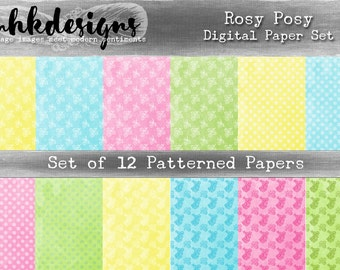 Rosy Posy Digital Paper Pack
