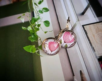 Poppy earrings,Poppy jewelry, Botanical earrings,Flower earrings, poppies, pink flower earrings, Spring earrings, cabochon earrings,