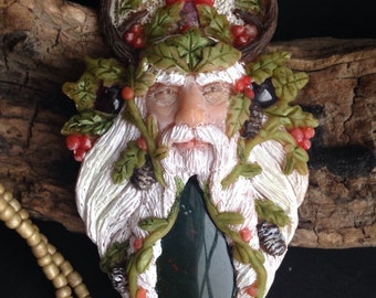 Yule Pendant - Pagan Necklace - Winter Solstice Pendant with Bloodstone, Raw Ruby, and Garnet - Hand Sculpted Clay - Spiritual Jewelry