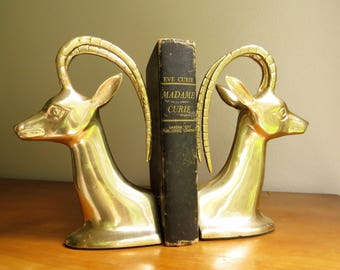 Vintage Brass Antelope Bookends, Brass Figurines, Hollywood Regency, Impala Bookends, Gazelle, Ram, Deer, Mid Century Bookends
