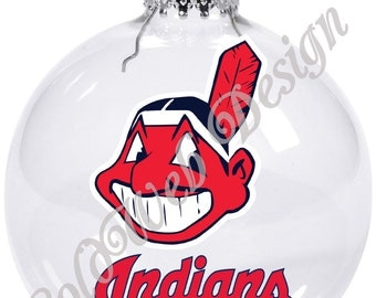 Cleveland Indians Inspired Floating Glass Ball Christmas Ornament