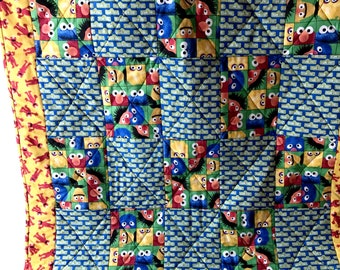 Handmade Baby Quilt, Sesame Street Quilt, Bert and Ernie Quilt, Elmo blanket, Cookie Monster, Blue and Green, Crib blanket, Play Mat,