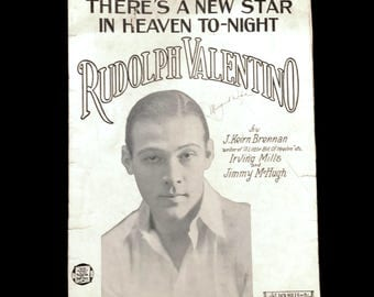 """Vintage Rudolph Valentino Sheet Music """"There's a New Star in Heaven Tonight"""" 1920's 1925 Copyright Sheet Music Art Valentino Portrait"""
