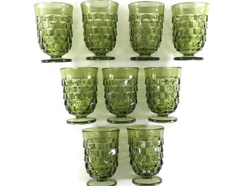 Vintage Juice Glass Set Indiana Whitehall Colony Avocado Green Drinking Glasses Stacked Cube Cubist Pattern Set of 9 Vintage Kitchen
