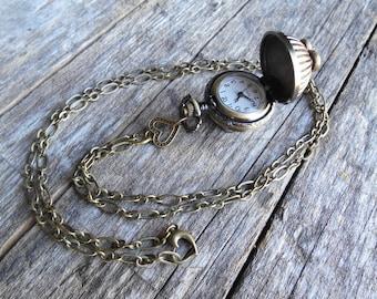 "Metal Ball Pocket Watch Necklace with Hearts on 31 inch (78 cm) Antique Bronze Chain, 1"" (2.5cm) Round, Working Watch, Girlfriend Gift"