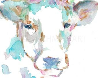 Cow Watercolor Print, Animal Watercolor, Cow Painting, Print of Cow Painting, Farm Animal Art, Nursery Animal Art, Cow Illustrati