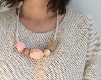 Sherbet Tone Wooden Bead & Rope Necklace
